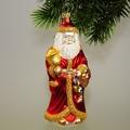 großer Weihnachtsmann mit Glocke bunt bemalt, Goldgl.