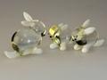 Hasenpaar - 3 - Stück, kristall-weiß